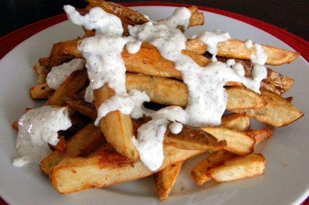 Loaded Greek Steak Fries with Tzatziki