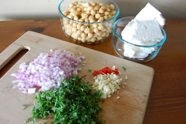 Feta Chickpea Salad Ingredients Chopped