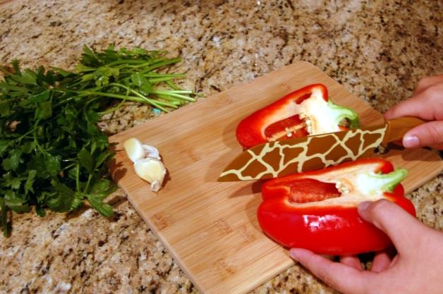 Garlic Breadcrumb Pasta: Chopping Pepper