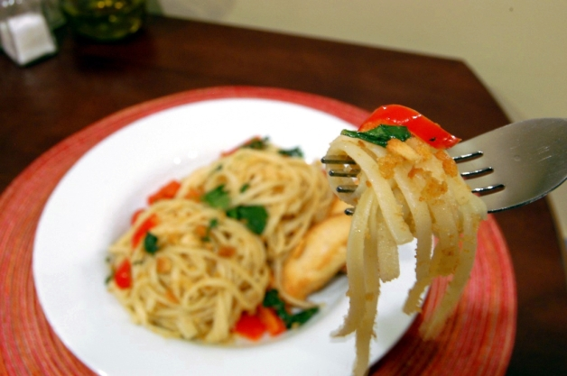 Bite of Garlic Breadcrumb Pasta with Red Bell Peppers