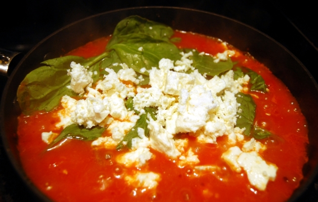 Eggs in Purgatory: Spinach and Feta