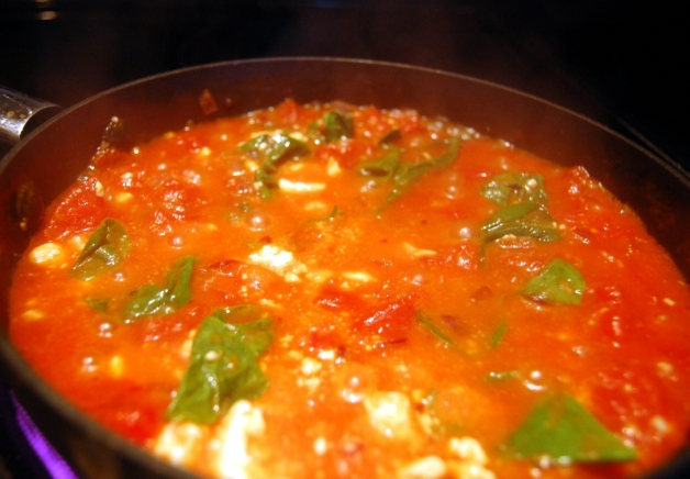 Eggs in Purgatory: Spinach and Feta Cooked Down