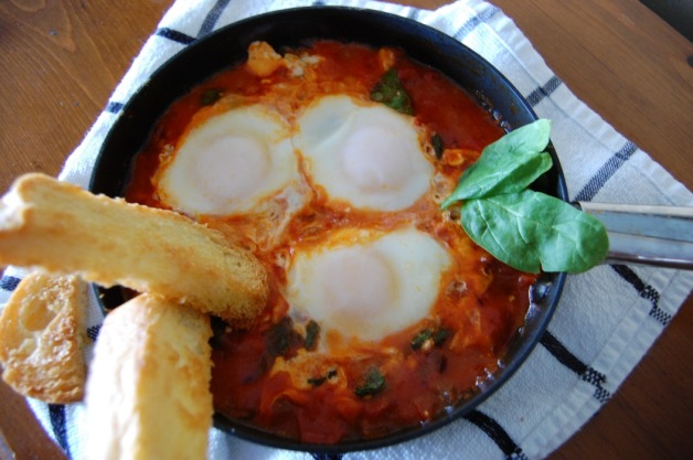 Eggs in Purgatory with Spinach and Feta Plated
