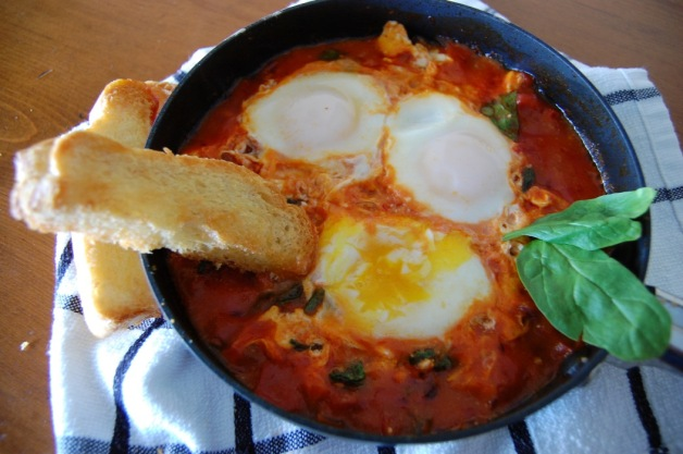 Eggs in Purgatory with Spinach and Feta
