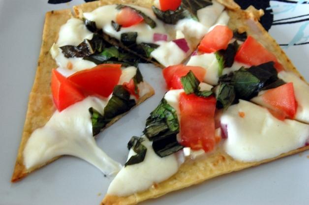 Stove Top Flat Bread Pizza Margherita Slice