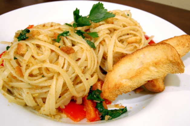 Garlic Breadcrumb Pasta with Red Bell Peppers