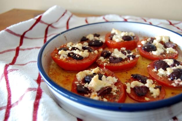 Feta and Kalamata Olive Baked Tomatoes Dish