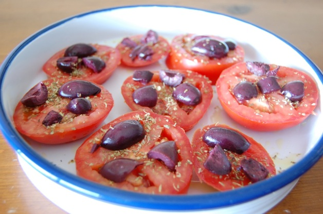Feta and Kalamata Olive Baked Tomatoes with Olives