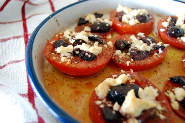 Feta and Kalamata Olive Baked Tomatoes